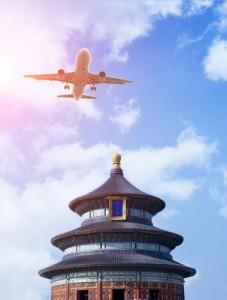 Chinese plane flying over Tiantan in Beijing